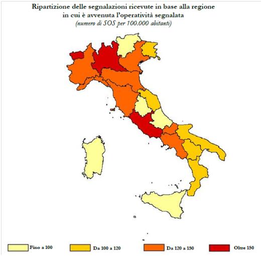 riparazione delle segnalazioni ricevute in base alla regione in cui è avvenuta l'operatività segnalata